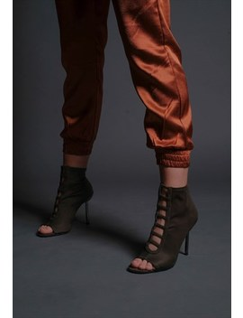 Burnt Satin Relaxed Rust Joggers Trousers by Me Me