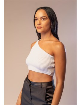 Shrug It Off Knitted One Shoulder Top White by Me Me