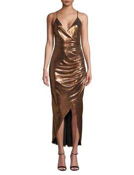 Metallic Wrap Front Dress by Wayf