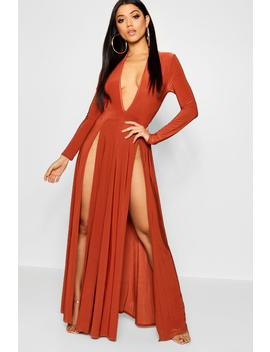 Extreme Split Plunge Neck Slinky Maxi Dress by Boohoo