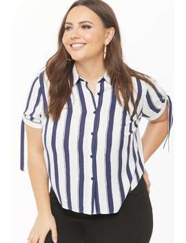 Plus Size Striped Print Shirt by Forever 21