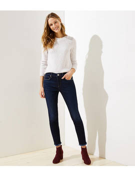 Modern Skinny Jeans In Frayed Dark Indigo Wash by Loft