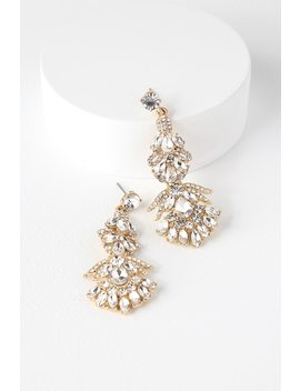 Special Moment Gold Rhinestone Earrings by Lulus