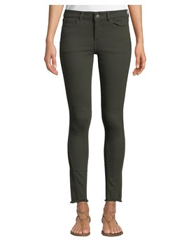Margaux Mid Rise Instasculpt Frayed Skinny Jeans by Neiman Marcus