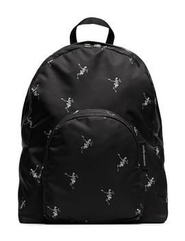 Black Dancing Skull Print Backpack by Alexander Mc Queen