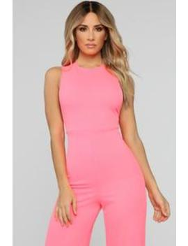 Miami's Finest Jumpsuit  Neon Pink by Fashion Nova