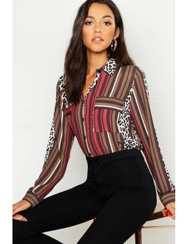 Tall Animal Stripe Mix Print Shirt by Boohoo