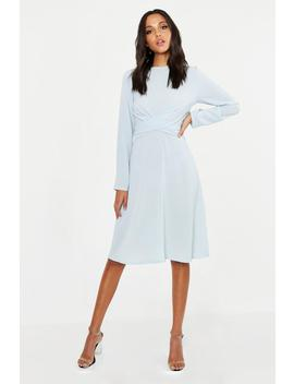 Tall Wrap Front Woven Midi Dress by Boohoo