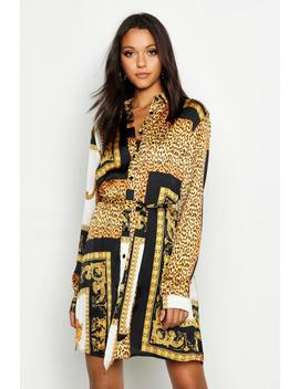 Tall Scarf Print Shirt Dress by Boohoo