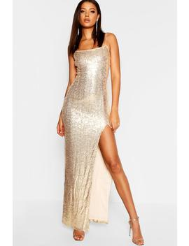 Tall Square Neck Sequin Maxi Dress by Boohoo