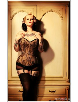 Corset Overbust Bespoke Nude Et Dentelle Noire by Etsy