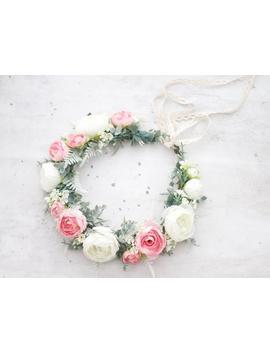Blush Peony Flower Crown Wedding, Rustic Floral Headband Bride by Etsy