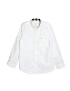 Fred Mini Long Sleeve Shirt, White, Size 4 14 by Burberry