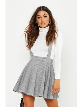 Dogtooth Check Pinafore Skirt by Boohoo