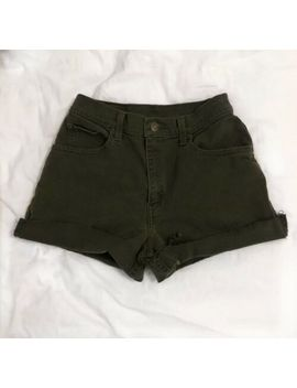 "Vintage High Waisted Stretch Levi's Levis 550 Camo Green Denim Jean Shorts 28"" by Levi's"