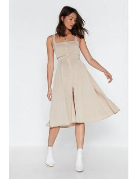 Button The Lookout Square Neck Midi Dress by Nasty Gal