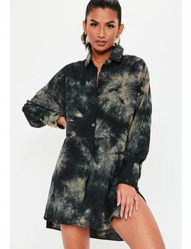 Green Oversized Acid Wash Shirt Dress by Missguided
