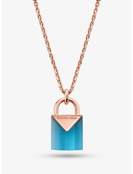 14 K Rose Gold Plated Sterling Silver Lock Necklace by Michael Kors