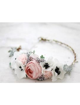 Peony Flower Crown, Blush Flower Crown, Tie Back Flower Crown, Bridal Flower Crown Wreath by Etsy