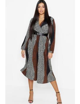 plus-mix-leopard-print-wrap-midi-dress by boohoo