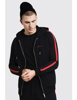 Man Signature Zip Hoodie With Red Tape by Boohoo