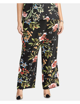 Trendy Plus Size Printed Wrap Tie Pants by Rachel Rachel Roy