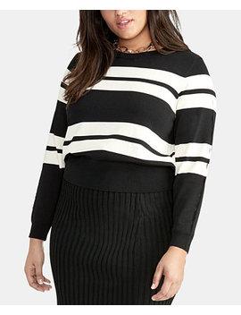Trendy Plus Size Cecily Striped Sweater by Rachel Rachel Roy