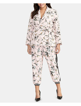 Trendy Plus Size Printed Tie Waist Blazer by Rachel Rachel Roy