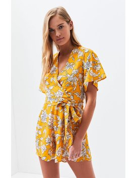 Lucca Couture Malia Deep V Belted Romper by Pacsun