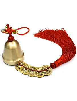 Lalago Chinese Feng Shui Bell For Wealth And Safe, Pendant Coins For Success, Ward Off Evil, Protect Peace   Also Can Used As Wind Chimes, Car Interiors (Red) by Lalago