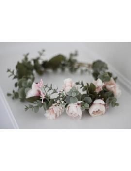 Blush Pink Flower Crown, Flower Crown, Floral Crown, Eucalyptus Crown, Light Pink Crown, White Pink Crown, Peony Flower Crown, Rose Crown by Etsy