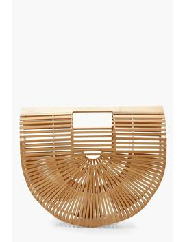 Wooden Structured Grab Bag   Small by Boohoo