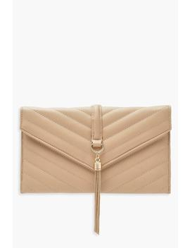 Pu Quilt & Tassel Chain Clutch by Boohoo