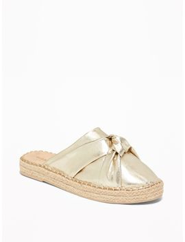 Knotted Metallic Faux Leather Espadrille Slide Sandals For Women by Old Navy