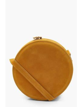 Suedette Structured Round Drum Cross Body by Boohoo