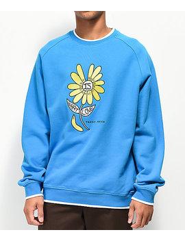 Teddy Fresh Love Flower Blue Raglan Crewneck Sweatshirt by Teddy Fresh