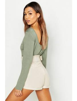 Basic Scoop Back Long Sleeve T Shirt by Boohoo