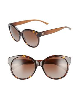 Stacked T 55mm Polarized Round Sunglasses by Tory Burch