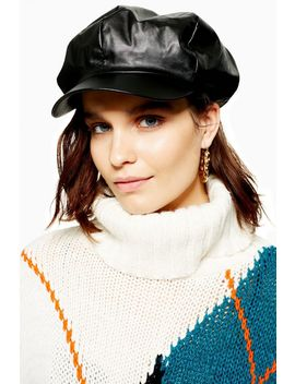 Slouchy Pu Baker Boy Hat by Topshop
