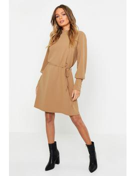 Frill Neck Button Sleeve Shift Dress by Boohoo