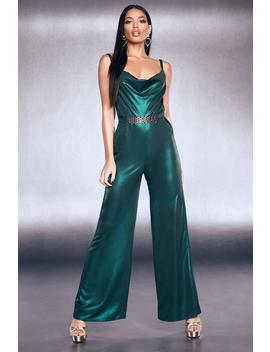 Premium Foiled Satin Chain Belt Cowl Jumpsuit by Boohoo