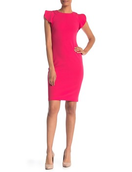Ruffled Cap Sleeve Crepe Dress by Vince Camuto