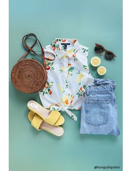Fruit Print Tie Front Shirt by Forever 21