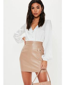 taupe-faux-leather-zip-mini-skirt by missguided
