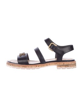 Cc Leather Strap Sandals by Chanel