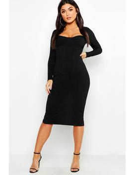 Ribbed Sweetheart Midi Dress by Boohoo