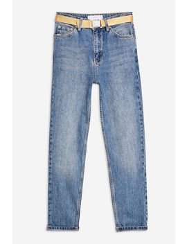 Mid Blue Seatbelt Mom Jeans by Topshop