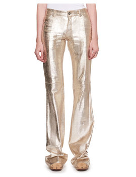 Metallic Textured Leather Flared Pants by Chloe