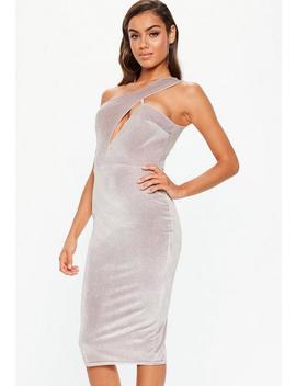 Pink Velvet Glitter One Shoulder Midi Dress by Missguided