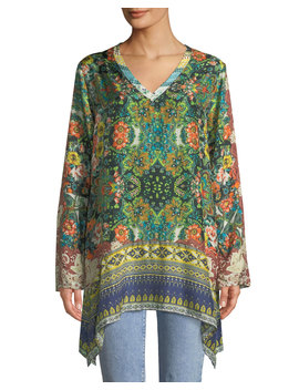 Paisley Silk Long Sleeve V Neck Tunic by Johnny Was